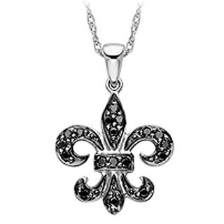 Sterling Silver 1/3ct TDW Black Diamond Fleur De Lis Pendant