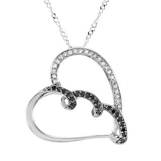 Sterling Silver Real 1/3ct TDW Black and White Diamond Heart Pendant (I-J, I2-I3)