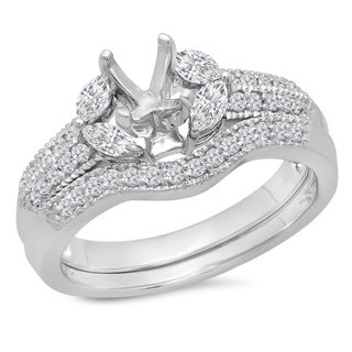 Elora 14k White Gold 5/8ct TDW Round and Marquise Diamond Semi Mount Bridal Set (H-I, I1-I2)