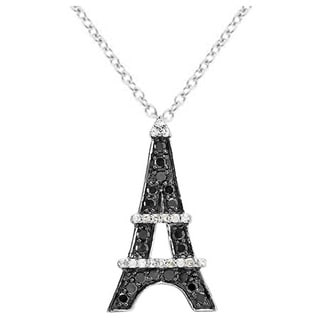 10k White Gold 1/2ct TDW Black and White Diamond Eiffel Tower Pendant (I-J, I1-I2)