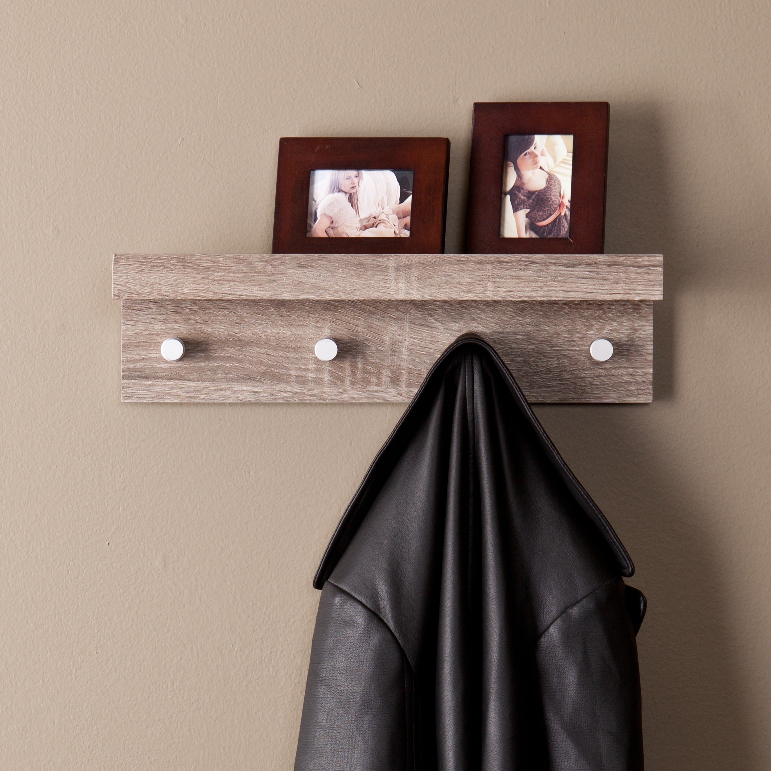 Shop Black Friday Deals On The Gray Barn Cordelia Greyed Oak Wall Mount Shelf With Hooks Overstock 22695205