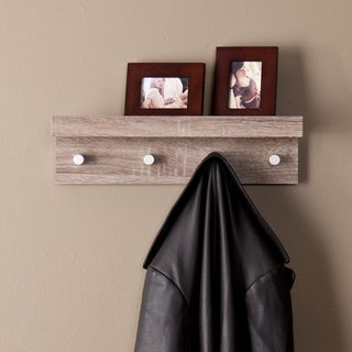 The Gray Barn Cordelia Greyed Oak Wall Mount Shelf with Hooks