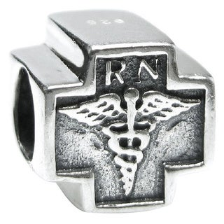 Queenberry Sterling Silver RN Registered Nurse Cross European Bead Charm