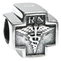 Queenberry Sterling Silver RN Registered Nurse Cross European Bead Charm