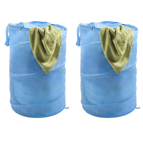 Pop Up Laundry Hamper-Collapsible Nylon Bag with Carrying Straps and Zipper for Dorm, Apartment by (Set of 2) by Windsor Home