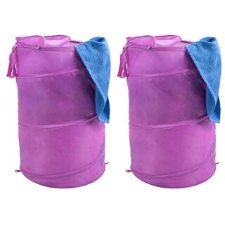 Windsor Home Pop-up Zipper Top Breathable Laundry Hamper (Set of 2) (Option: Pink)