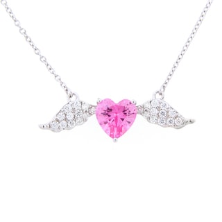 Meredith Leigh Sterling Silver Cubic Zirconia Pink Heart Angel Wing Necklace