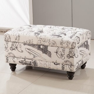 Royal Comfort Collection Traditional Paris Vintage French Writing Aqua Button Tufted Bench Storage Ottoman