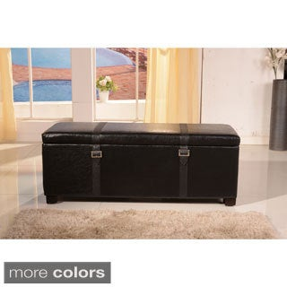 Luxury Collection Classic Faux Buckle Storage Bench Ottoman