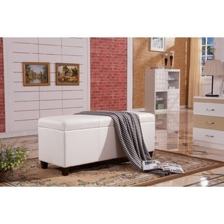 Royal Comfort Collection Classic Faux Leather Storage Bench Ottoman