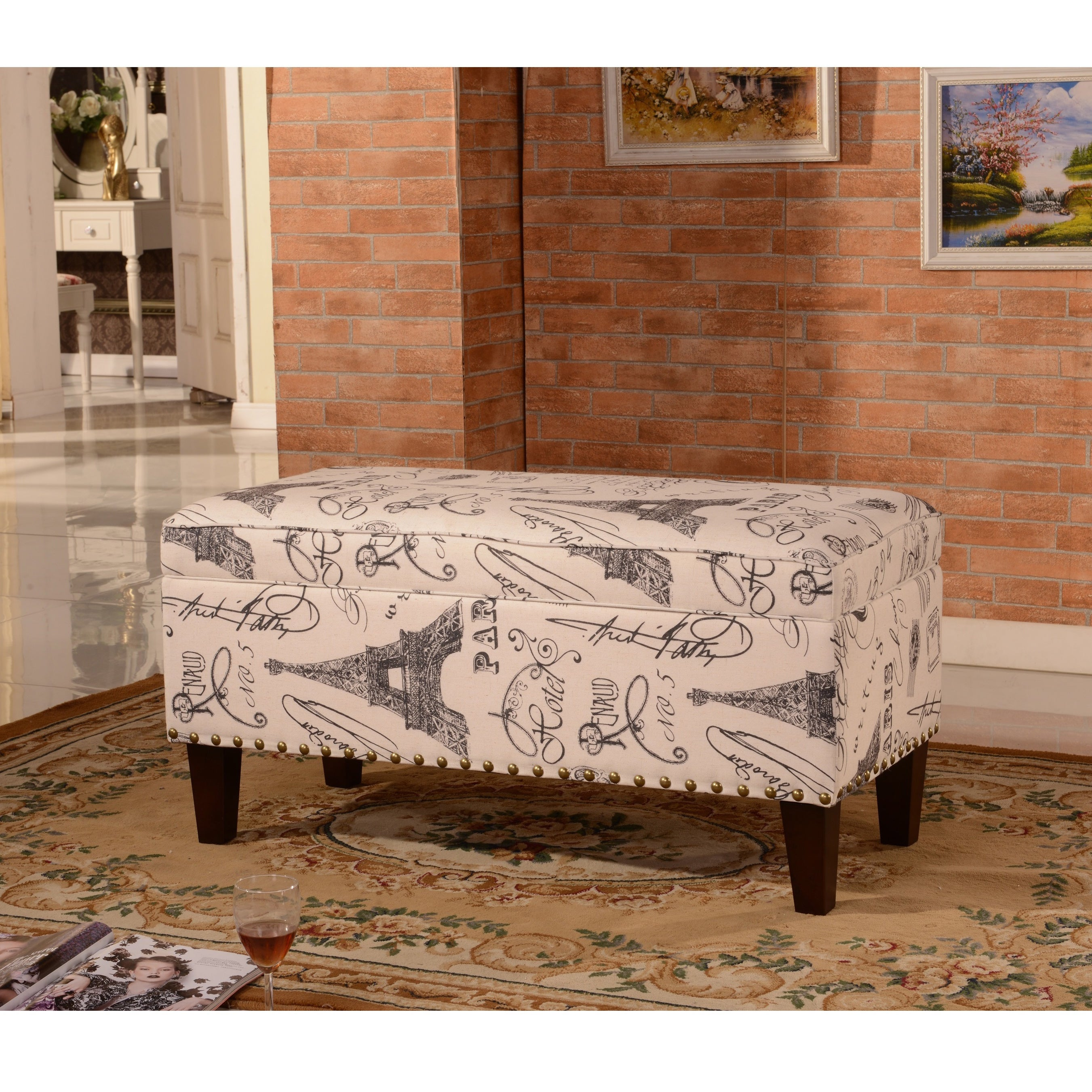 Luxury Comfort Collection Classic Paris Vintage French Writing Aqua Storage Bench Ottoman Overstock 9632404