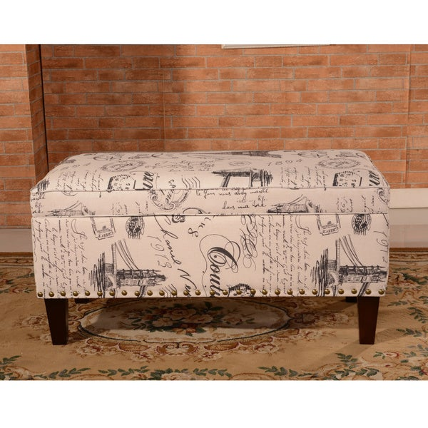 Luxury Comfort Collection Classic Paris Vintage French Writing Aqua Storage Bench Ottoman & Shop Luxury Comfort Collection Classic Paris Vintage French Writing ...