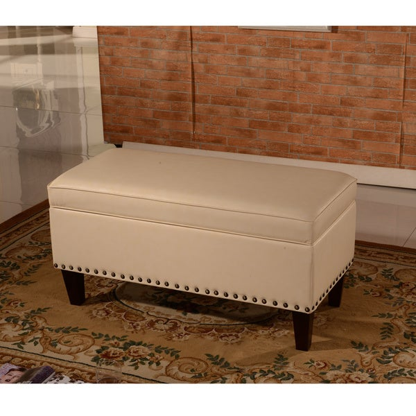 luxury collection creamy white faux leather storage bench ottoman free shipping today. Black Bedroom Furniture Sets. Home Design Ideas