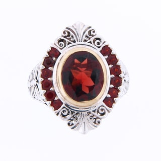 Meredith Leigh Sterling Silver 14k Gold Garnet Vintage Style Ring