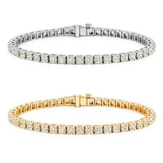 Auriya 14k Gold 1 1/2ct to 12ct TDW Diamond Tennis Bracelet (H-I, SI1-SI2)