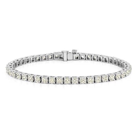 Auriya 14k Gold Round Diamond Tennis Bracelet 1 1/2 to 12ctw 7-inch