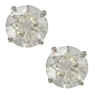 Auriya 18K Gold 1ct TDW Clarity-Enhanced Round Diamond Stud Earrings