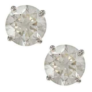 Auriya 18K Gold 1ct TDW Clarity-Enhanced Round Diamond Stud Earrings