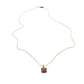 10k Yellow Gold Citrine Brown Diamond Pendant Necklace