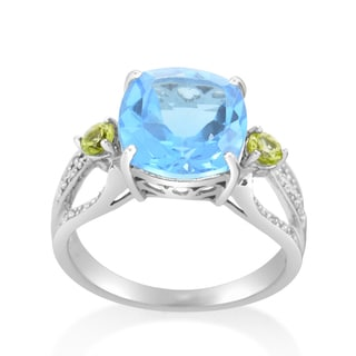 10k White Gold 1/6ct TDW Diamond Topaz and Peridot Ring (H-I, SI1-SI2)