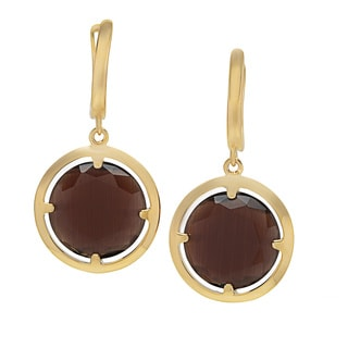 La Preciosa Sterling Silver Goldtone-plated Coffee Cats Eye Circle Earrings