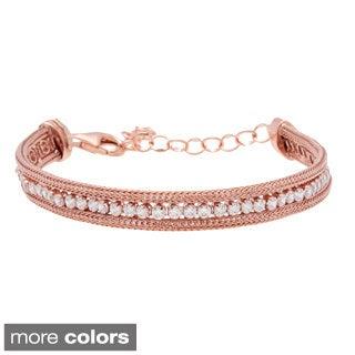 La Preciosa Sterling Silver Cubic Zirconia Mesh Tennis Bracelet