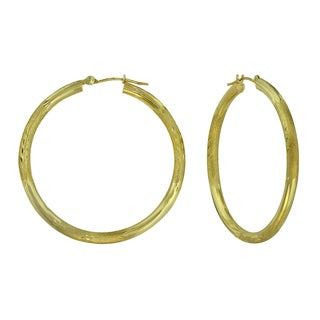 14k Yellow Gold Textured and Diamond-cut Hoop Earrings