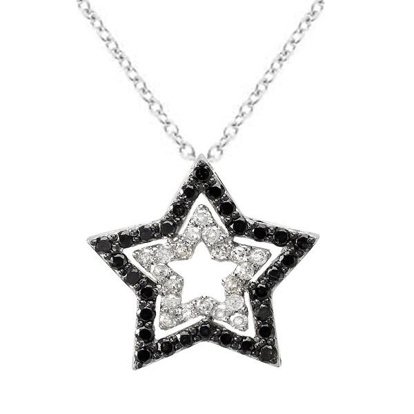 10K White Gold Round Black & White 0.45 TDW Diamond Star Pendant ...