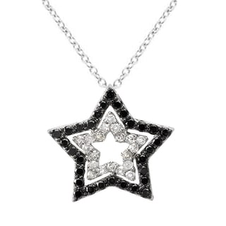 10K White Gold Round Black & White 0.45 TDW Diamond Star Pendant