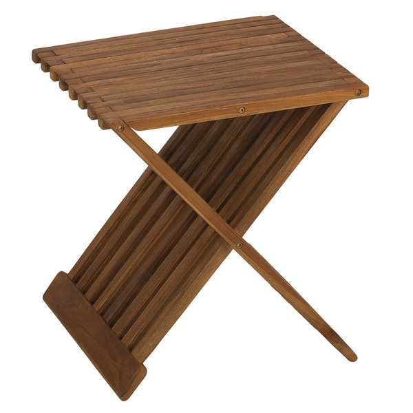Bare decor rocco solid teak wood folding stool free