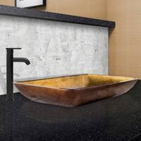 VIGO Rectangular Copper Glass Vessel Sink and Seville Faucet Set in Matte Black Finish