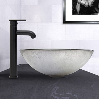 VIGO Simply Silver Glass Vessel Sink and Seville Faucet Set in Matte Black Finish