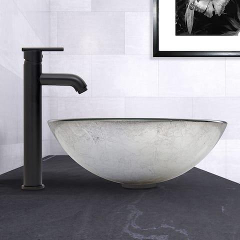 VIGO Simply Silver Glass Vessel Sink and Seville Faucet Set in Matte Black Finish
