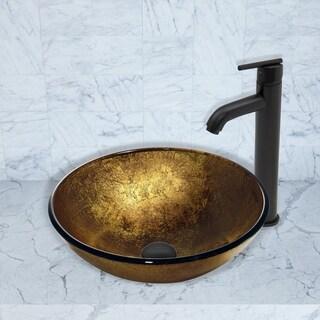 VIGO Liquid Gold Glass Vessel Sink and Seville Faucet Set in Matte Black Finish