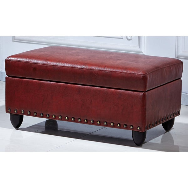 Shop Royal Comfort Adamn Faux Leather Luxury Ottoman