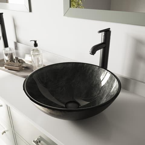 VIGO Grey Onyx Glass Vessel Bathroom Sink and Seville Faucet Set