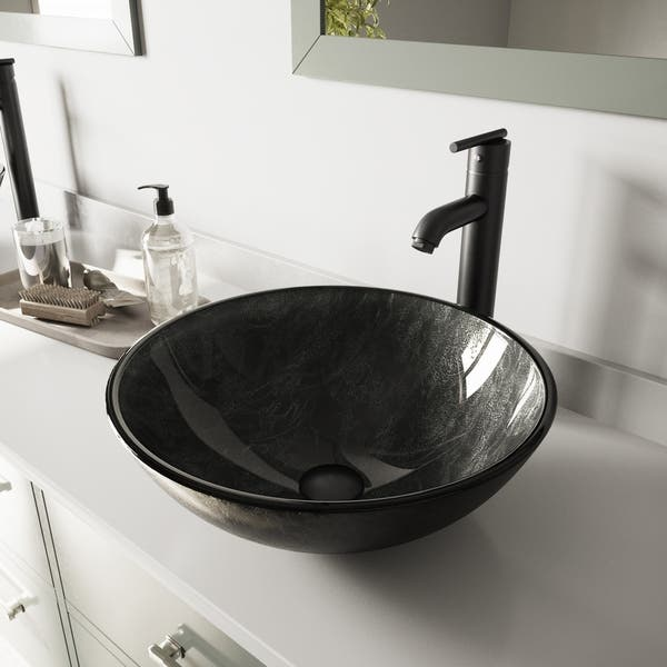 Vigo Grey Onyx Glass Vessel Bathroom Sink And Seville Faucet Set On Sale Overstock 9632691