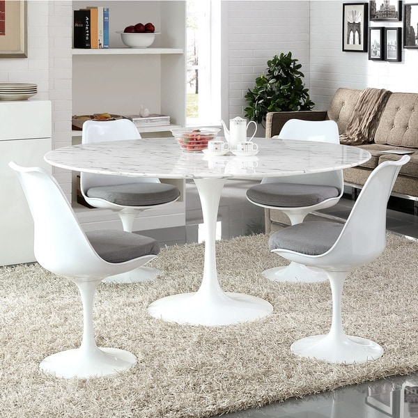 Shop Lippa 60 Inch Round Marble Dining Table White Free Shipping