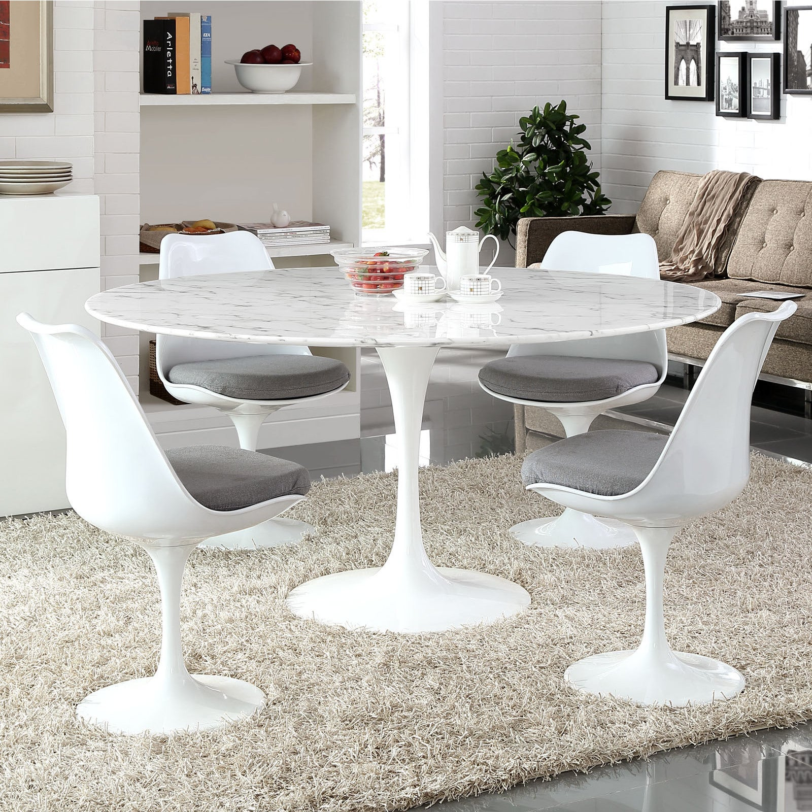 Lippa 60 Inch Round Marble Dining Table White