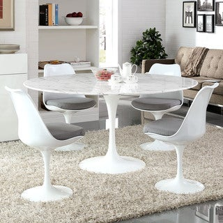 Lippa 60-inch Round Marble Dining Table - White