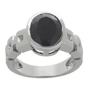 Gems For You Sterling Silver Oval-faceted Black Onyx Ring