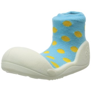 Attipas Infant Sky Blue Polka-dotted Cotton and Rubber Shoes