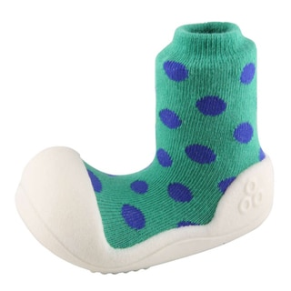 Attipas Infant Green Polka-dotted Cotton and Rubber Shoes