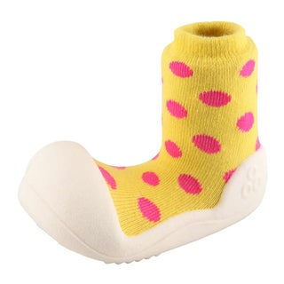 Attipas Infant Yellow Polka-dotted Cotton and Rubber Shoes
