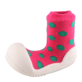 Attipas Infant Pink Polka-dotted Cotton and Rubber Shoes