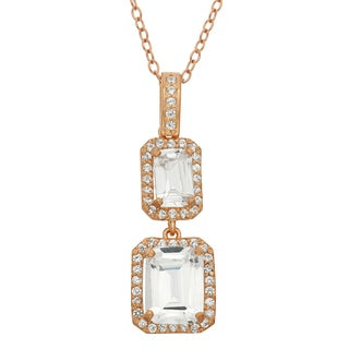 Gioelli Sterling Silver Rose Goldplated Created White Sapphire Emerald-cut Pendant Necklace