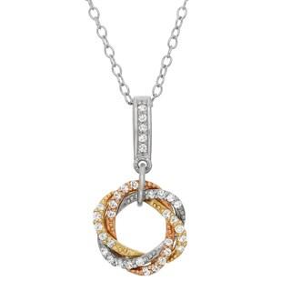 Gioelli Sterling Silver Tri-tone Created White Sapphire Open Love Knot Pendant Necklace