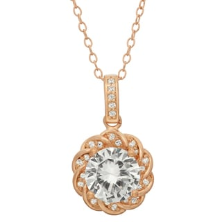 Gioelli Sterling Silver Rose Goldplated Created White Sapphire Flower Shaped Pendant Necklace