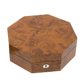 Unique Octagon Burlwood Jewelry Box