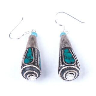 Antique Silvertone Teardrop Earrings (Nepal)